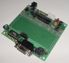Rapid28iXL PIC prototyping board with RS232 serial interface